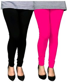 U.S.Traders Women's Cotton Churidar Leggings ( Multicolour, Free Size) -Combo Pack of 2