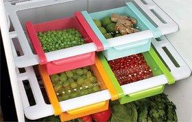 Refrigerator Multicolor Plastic Storage Fridge Racks Tray Selves Shelf (Set Of 4)