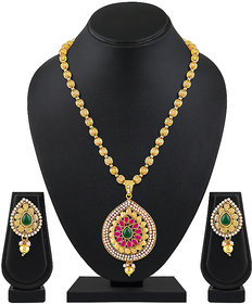 Asmitta Traditional Pear Shape High Gold Plated Matinee Style Pendant Set For Women