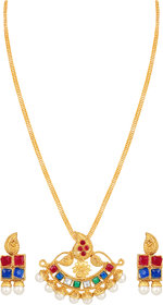 Asmitta Designer Gold Plated Multicolor Pendant Set For Women