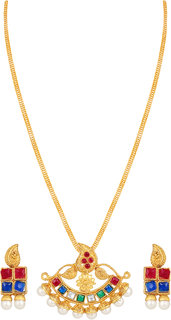 Asmitta Designer Gold Plated Multicolor Pendant Set For Women