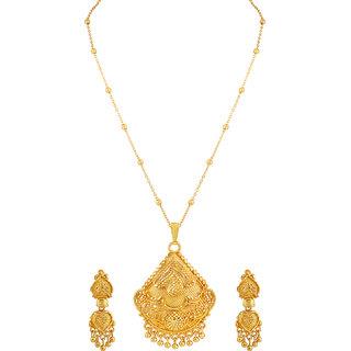 Asmitta Fancy Designer Gold Plated Matinee Style Brass Pendant Set For Women
