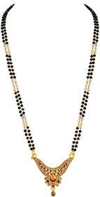 Asmitta Fancy Meenakari Work Gold Plated Matinee Style Mangalsutra For Women