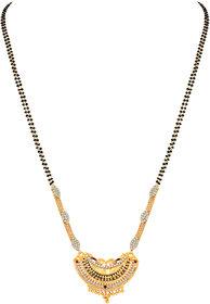 Asmitta Traditional Meenakari Work Gold Plated Opera Style White Stone Mangalsutra For Women