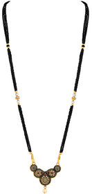 Asmitta Traditional Oxidised Gold Plated Opera Style Lct Stone Mangalsutra For Women