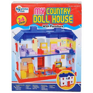 Doll House Toy by REBUY My Country Doll House with Furniture - Set of 24 pcs for Girl Children
