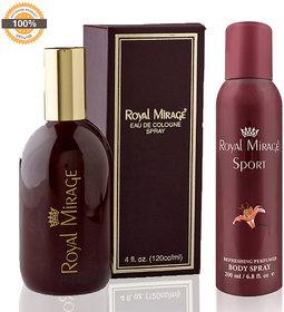 Royal Mirage Eau De Cologne Original, 120ml + Royal Mirage Body Spray Sport, 200ml