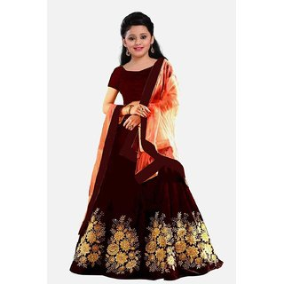 F Plus Fashion Maroon Color Heavy Embroidered Kids Girls Wedding Wear Semi Stitched lehenga Choli
