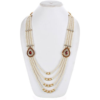 Lucky Jewellery Designer Wedding Multi Strand Maroon and White Color Dulha Har Layered Pearl Maharaja Haar Groom Necklace Set for Men (647-M6DM-1010-MW)