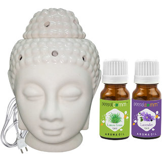 Peepalcomm Electric Buddha Head Aroma Diffuser with Lemongrass Lavender Aroma Oil 10ml Each for Home Office 14x10x10cm