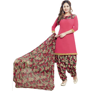 Drapes Women's Pink Crepe printed Dress Material (Unstitched)