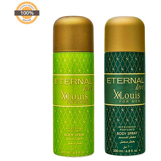 Eternal Love Body Spray, Xlouis Men, 200ml + Eternal Love Body Spray Xlouis Women, 200ml