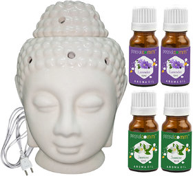 Peepalcomm Electric Buddha Head Aroma Diffuser with 2Lavender 2Jasmine Aroma Oil 10ml Each for Home Office 14x10x10cm