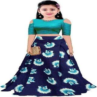 F Plus Fashion Sky Blue satin Flower Printed Kids Girls Wedding Semi Stitched Lehenga Choli Free Size