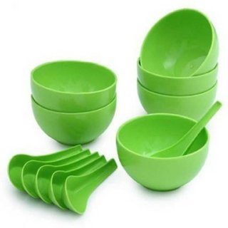 Green Plastic 6 Bowls 6 Soup Spoons Set of 12 Pieces Dinner Sets