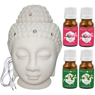 Peepalcomm Electric Buddha Head Aroma Diffuser with 2 Rose 2 Jasmine Aroma Oil 10ml Each for Home Office 14x10x10cm