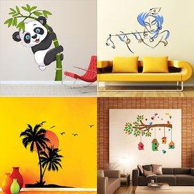 EJA Art Combo of 4 Wall Sticker Baby Panda-(120 X 95 Cms) Bansidhar-(65 X 90 Cms) Beach With Sunset-(55 X 60 Cms) Bird House On A Branch-(90 X 75 Cms)-Matrial Vinyl