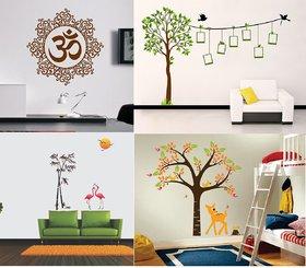 EJA Art Combo of 4 Wall Sticker Designer Om-(50 X 50 Cms) Elegant Orange Deer And Tree-(92 X 93 Cms) Family Tree-(185 X 122 Cms) Flamingos And Bamboo-(150 X 125 Cms)-Matrial Vinyl