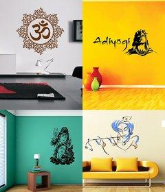 EJA Art Combo of 4 Wall Sticker Shiv Parwati-(60 X 39 Cms) Adiyogi-(50 X 118 Cms) Bansidhar-(65 X 90 Cms) Designer Om-(50 X 50 Cms)-Matrial Vinyl