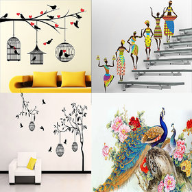 Eja Art Combo of 4 Wall Sticker Love Birds With Hearts-(125 X 85 Cms)|Tribal Lady-(180 X 60 Cms)|Free Bird Case Black-(150 X 115 Cms)|Royal Peacock-(50 X 60 Cms)-Matrial Vinyl