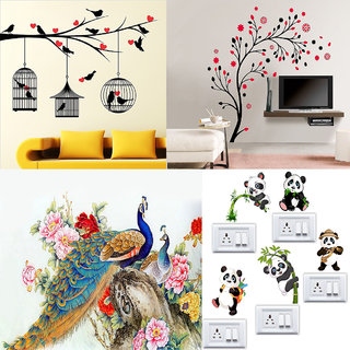 Combo of 4 EJA Art Multicolor PVC Vinyl Love Birds With Hearts Magical Tree Royal Peacock Panda Wall Sticker