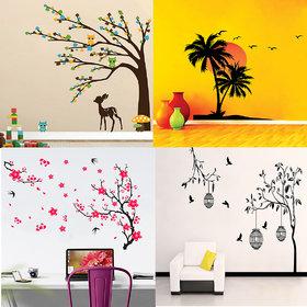 Combo of 4 Eja Art Multicolor Vinyl Wall Sticker