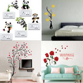 EJA Art Combo of 4 Wall Sticker Romantic Rose Flowers-(98 X64 Cms) Panda-(60 X 50 Cms) Flower Vase Yellow-(60 X 134 Cms) Magical Tree-(150 X 150 Cms)-Matrial Vinyl