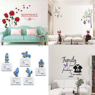 EJA Art Combo of 4 Wall Sticker Family Forever No Matter-(61 X46 Cms) Romantic Rose Flowers-(98 X64 Cms) Free Bird Case-(150 X 115 Cms) Cute Birds-(150 X 35 Cms)-Matrial Vinyl