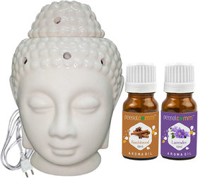Peepalcomm Electric Buddha Head Aroma Diffuser with Sandalwood Lavender Aroma Oil 10ml Each for Home Office 14x10x10cm