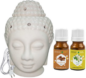 Peepalcomm Electric Buddha Head Aroma Diffuser with Sandalwood Mogra Aroma Oil 10ml Each for Home Office 14x10x10cm