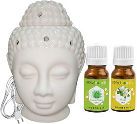 Peepalcomm Electric Buddha Head Aroma Diffuser with Lemongrass Mogra Aroma Oil 10ml Each for Home Office 14x10x10cm