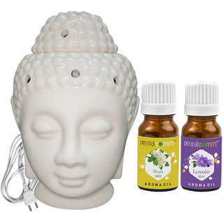 Peepalcomm Electric Buddha Head Aroma Diffuser with Mogra Lavender Aroma Oil 10ml Each for Home Office 14x10x10cm