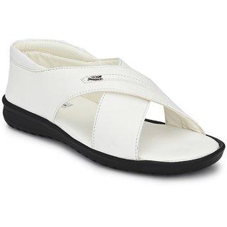 Bucik White Synthetic Leather Sandal