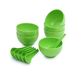 Soup Bowl Green Plastic Set of 12pcs (6 Bowls 6 Soup spoons)