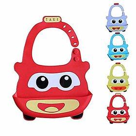 REGAL Silicone Taxi Baby Bibs, Waterproof Baby Drool Bibs with Wide Pocket BPA-Free Easily Wipe Clean Cute Cartoon Desig