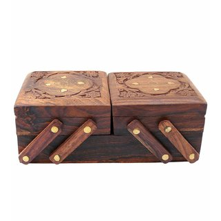 BuyCrafts Wooden Jewellery Box (Brass n Carving) for Women/Girls Flip Flap Handmade Gift, 8 inches