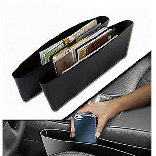 REGAL Black Car Storage Bag Box Caddy Gap Side Car Seat Slit Pocket Catcher (Pack of 2)