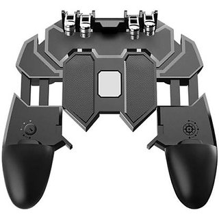 HBNS AK66 Six Finger All-in-One Mobile Game Controller Fire Key Button for PUBG (Black)