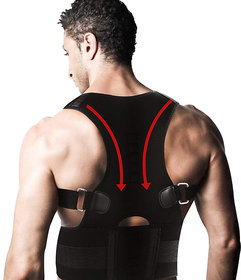 Lionix Black Posture Corrector Back Brace Waist Wide Straps Support with Adjustable Size