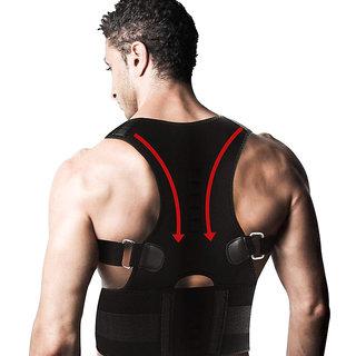 Lionix Black Posture Corrector Back Brace Waist Wide Straps Support with Adjustable Size