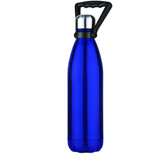 Rident Kitchen Stainless Steel Vacuum Insulated Flask with Handle(Double Wall Water Bottle)  Hot  Cold -Blue 1000 ml