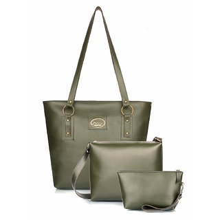 Mammon Women's PU Green Handbag sling bag and Pouch Combo set of 3