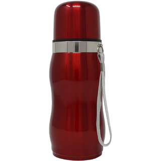 Rident Kitchen Stainless Steel Vacuum Insulated Flask Curved Shape (Double Wall Water Bottle)  Hot  Cold - Red 300 ml