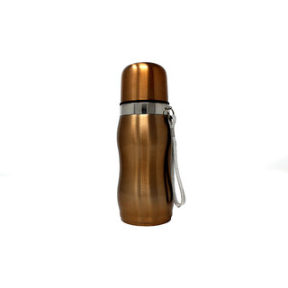 Rident Kitchen Stainless Steel Vacuum Insulated Flask Curved Shape (Double Wall Water Bottle)  Hot  Cold - Gold 300 ml
