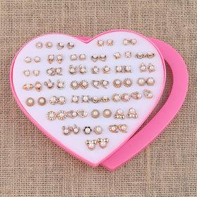 Silver Shine Golden look Cute Earring Set of 36 Earrings for Women