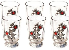 METALCRAFTS Drinking Glass set of 6, metal golden flowers pasted, capacity 200 ML