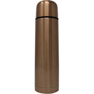 Rident Kitchen Stainless Steel Vacuum Insulated Flask (Double Wall Water Bottle)  Hot  Cold - Gold -500 ml