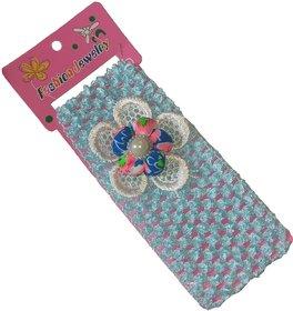 Viva Fashions Flower on crochet Head Band  (Blue)
