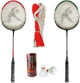 Hipkoo Toofani Wide Body Badminton Set ( 2 Rackets, 3 Feather Shuttles and Net ) Free Bag Inside