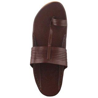 prathak mens brown kolhapuri chappal sandal